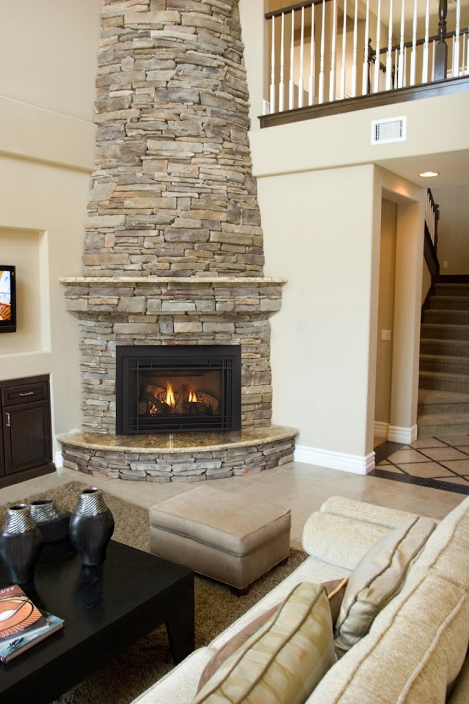 Two story fireplaces hearth and home distributors of - Chimeneas de esquina modernas ...