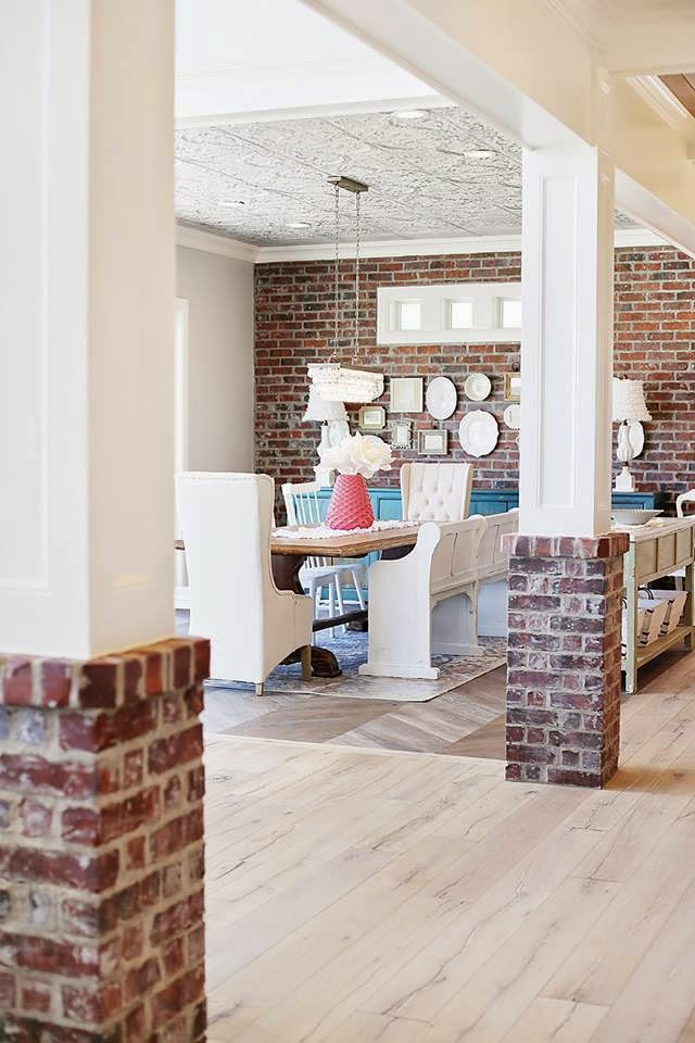 Interior Stone Columns : Interior pillars with stone brick hearth and home