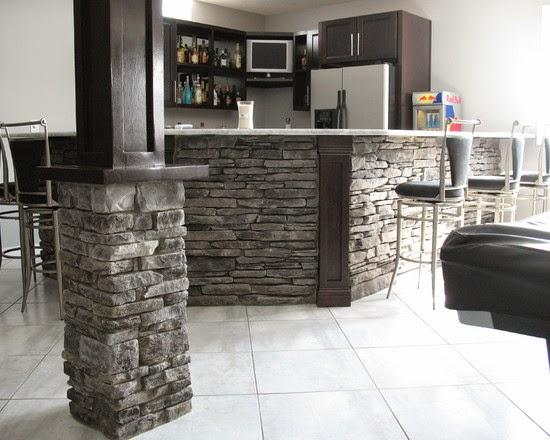Brick And Stone Pillars : Interior pillars with stone brick hearth and home