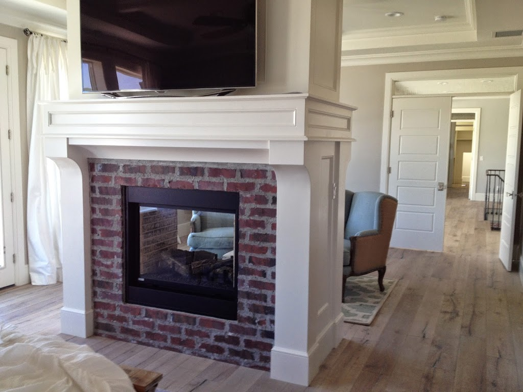 Brick Fireplaces With White Surround Mantels