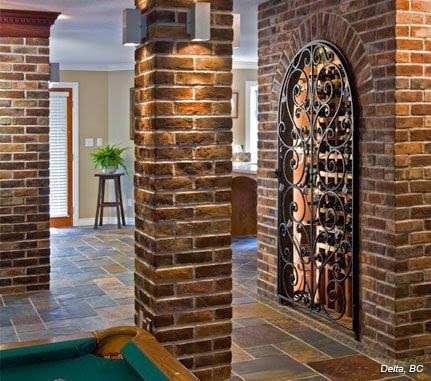 Interior Pillars With Stone Amp Brick Hearth And Home