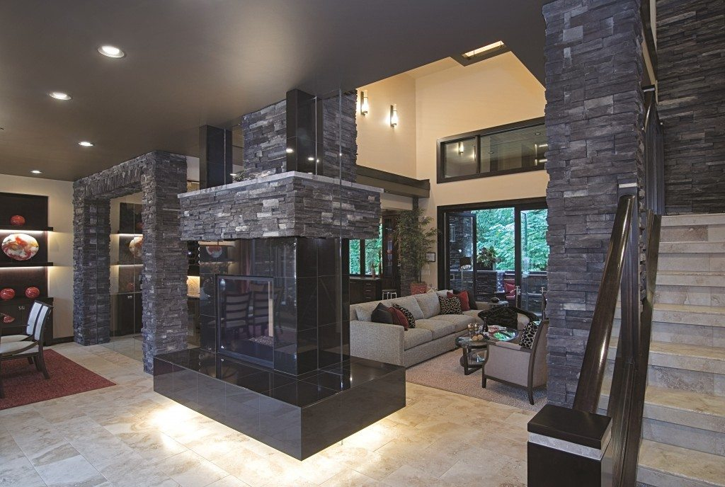 Modern fireplaces peninsula wrap around units hearth for Street of dreams