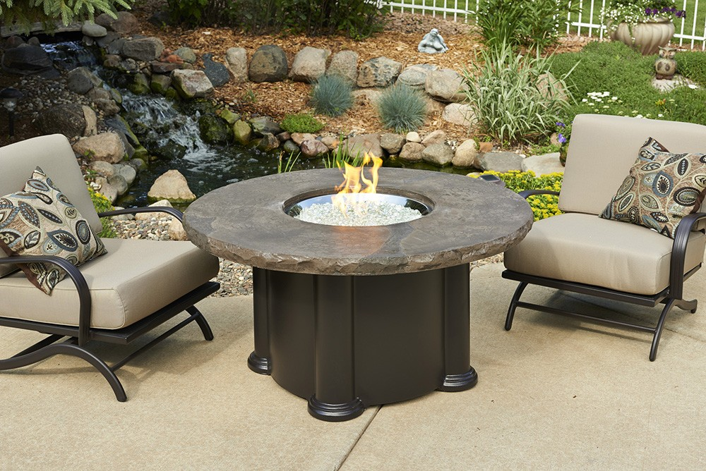 Outdoor Greatroom Company Marbleized Noche Colonial Chat Dining Or - Pub height fire pit table