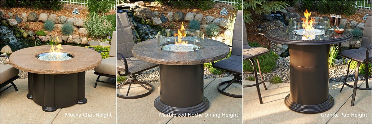 Outdoor Greatroom Company Grand Colonial Fire Pit Table Chat - Pub height fire pit table