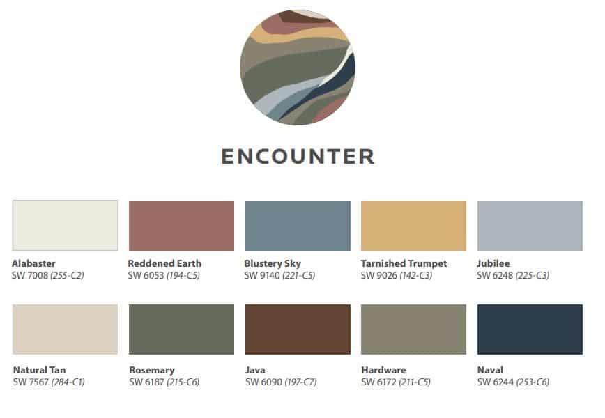 Sherwin Williams 2021 Colormix - Encounter Color Scheme