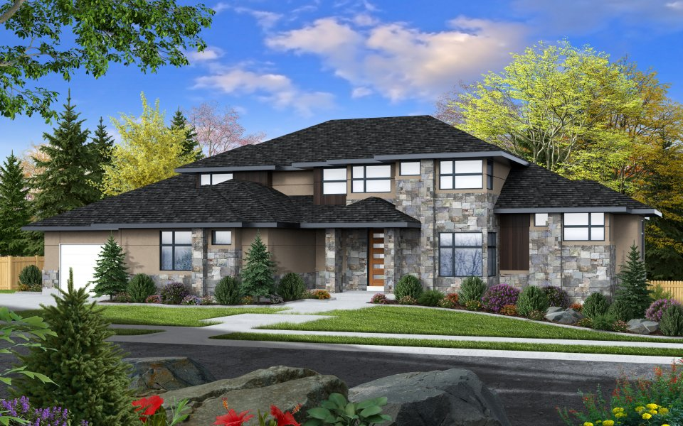 Rendering of Symphony Home's Home from the Utah Valley Parade of Homes 2020 to show the roof line and elevation.